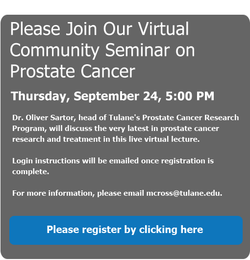 Join Our Virtual Community Seminar on Prostate Cancer